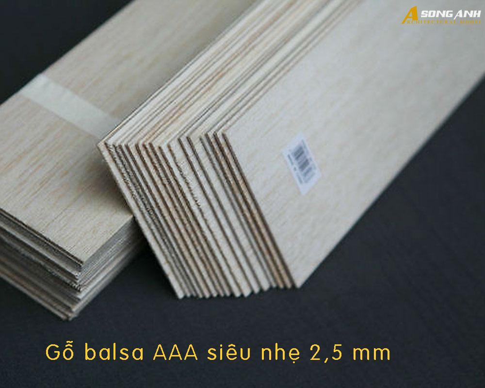 Gỗ balsa AAA siêu nhẹ 2,5 cm