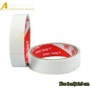 Băng Keo 2 mặt 2.5 cm lớp keo trắng trong VP01-BKNV0125WHI