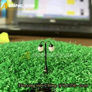Đèn công viên mô hình 2 bóng loại 1 - 2 cm tỉ lệ 1/250 HH03-DCAB0201250