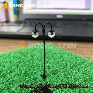 Đèn công viên mô hình 2 bóng loại 1 - 6 cm tỉ lệ 1/75 HH03-DCAB020175