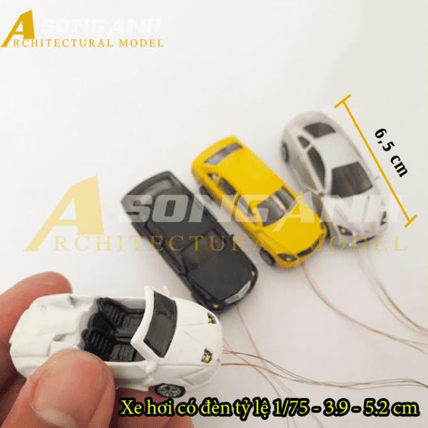 Xe hơi mô hình có đèn 3.9 - 5.2 cm tỉ lệ 1/75