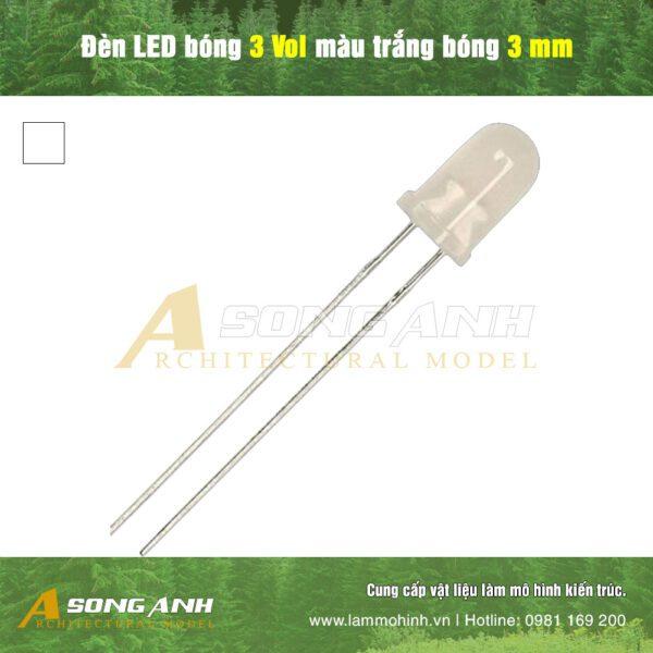 Đèn LED bóng 3 Vol màu trắng bóng 3 mm